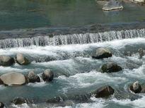 夏は、早川の河川敷で夕涼み
