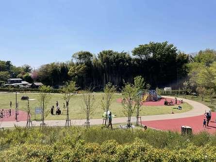 子どもに目が届く、新しくてきれいな公園でピクニック